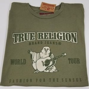 True Religion Mens T-Shirt Graphic Tee Green New